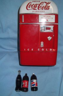 COCA COLA ,,COKE MACHINE TIN with SMALL BOTTLES COKE & PEPSI
