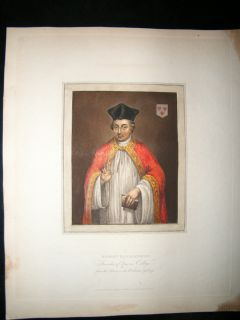 History of Oxford 1815 Hand Col Portrait Robert Egglesfield