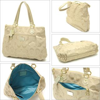 Coach Poppy Metallic Signature Glam Tote 17890 BKHGD B4 Khaki Gold