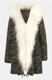 Topshop Benny Genuine Mongolian Sheep Fur Trim Camo Parka