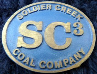 Vintage Soldier Creek Coal Company Mining Belt Buckle