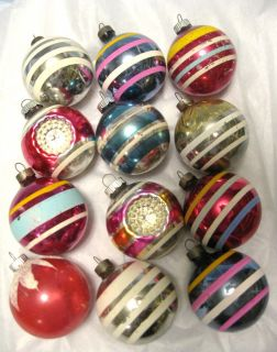 12 Medium Vintage 50s Shiny Brite Christmas Xmas Ornaments   Stripes
