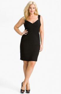 Calvin Klein Pleat Panel Jersey Sheath Dress (Plus)