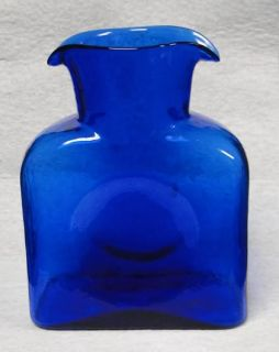 Cobalt Blue Blenko Glass Double Spout Water Pitcher or Decanter