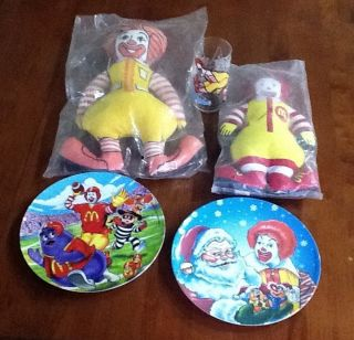Ronald McDonald Collection Dolls Plates and A Glass