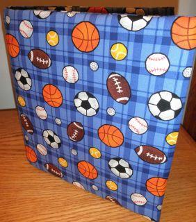 BASEBALL SOCCER ETC FABRIC COVER FOR 3 RING BINDER stocking stuffer