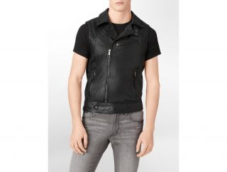 Calvin Klein CK One Body Slim Fit Leather Motorcycle Vest Mens