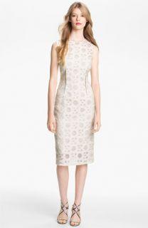 Lela Rose Pintucked Waist Sheath Dress
