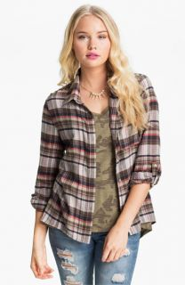 Living Doll Plaid Flannel Shirt (Juniors)