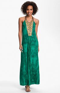 Tbags Los Angeles Embellished Panel Jersey Maxi Dress
