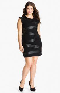 Sheri Bodell Faux Leather Wrapped Ponte Sheath Dress (Plus)