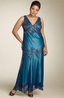Adrianna Papell Evening Sequin & Bead Overlay Dress (Plus)