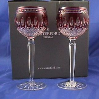 Waterford Clarendon Ruby Red Wine Hock Glasses