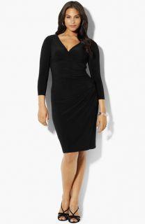 Lauren Ralph Lauren Surplice Matte Jersey Dress (Plus)