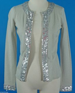 New Collection 59 Ladies Silver Lame Cashmere Sequined Cardigan