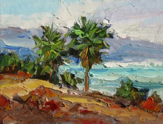 PALM TREES, COLORFUL CALIFORNIA IMPRESSIONIST COASTAL PLEIN AIR by TOM