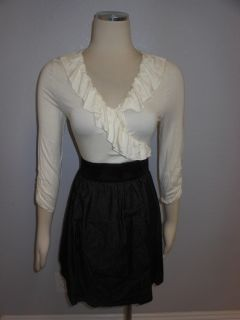 Romeo Juliet Couture Fashionable Wrap Ruffle Ruched Fitted Blouse Top
