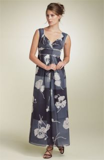 Adrianna Papell Floral Silk Maxi Dress