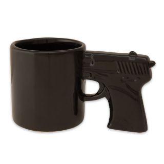 All Black Gun Mug Gag Gift Cup Holds 12 FL oz Coffee Tea