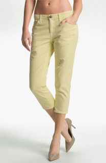 Current/Elliott The Skinny Boy Distressed Crop Jeans (Mellow Yellow)