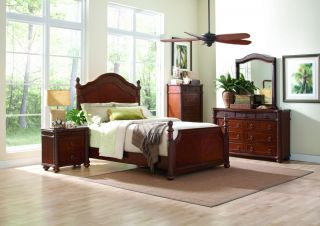 Queen Bedroom Keilani Wicker Style Cherry 5 Piece Set