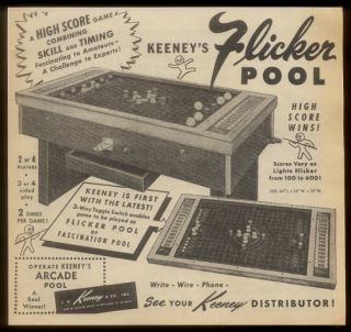 1956 Keeney Flicker Pool coin op bumper pool table game machine trade
