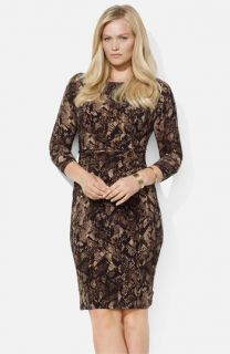 Lauren Ralph Lauren Python Print Jersey Sheath Dress (Plus)