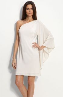 Nicole Miller Drape Sleeve One Shoulder Dress