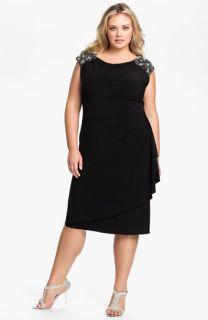 Alex Evenings Beaded Shoulder Faux Wrap Jersey Dress (Plus)