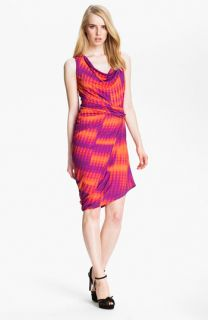 Halston Heritage Draped Jersey Knit Dress