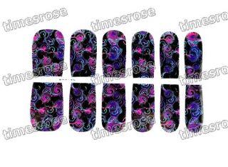 12 Pcs Nail Art Color Intrigue Sticker Acrylic Foils Decoration Tips