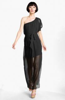 Abi Ferrin Dolce Sheer One Shoulder Silk Maxi Dress