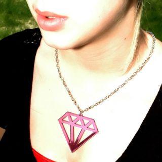 Diamond Bling Pink MIRR Acrylic Necklace Charm Pendant