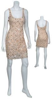 High Style Dazzling Cream Sequin Tank Cocktail Eve Dress 10 New