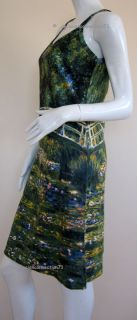 Monet Water Lily Pond New Hand Printed Art Dress s 4 6