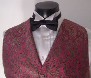 PINK W/GOLD PASILEY DESIGN TUXEDO VEST AND BLACK BOW TIE (LARGE)