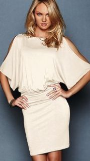 New Famous Catalog *Coconut Milk* Blouson Cold Shoulder Dress sz XL X