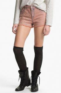 Jolt Studded High Waist Cutoff Shorts (Juniors)