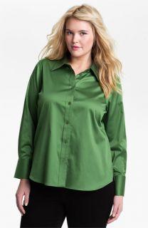 Foxcroft Shaped Stretch Sateen Shirt (Plus)