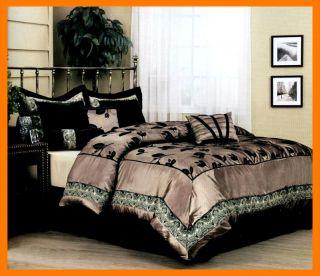 Leaf Satin Bed in A Bag Comforter Set Queen Size Bronze Black