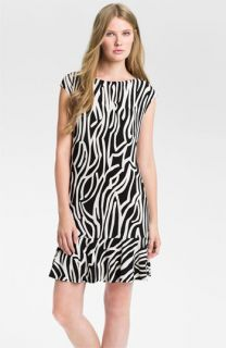 Donna Morgan Print Cap Sleeve Drop Waist Dress