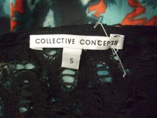 Collective Concepts Anthropologie Black Lace Abstract Print Blouse Top