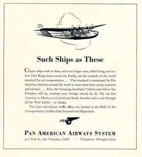 Francisco 1939 Travel Guide Compliments of Pan American Airways