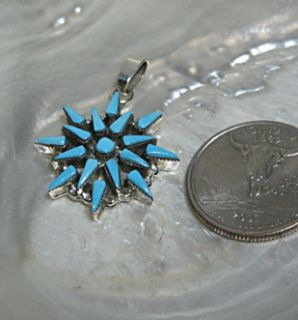 Zuni Turquoise Sterling Silver Cluster Star Pendant
