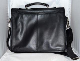 Kenneth Cole Reaction Black Leather Briefcase Laptop Bag with Shoulder