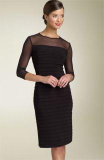 Adrianna Papell Illusion Yoke Pleated Dress