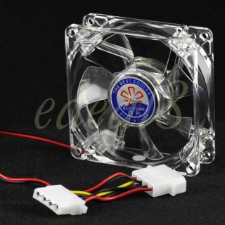 12V Computer PC Fan Cooler Blue LED Light Heatsink New