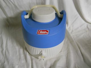 Vintage Coleman Cooler Jug 1 Gallon Water Jug Blue White Camping