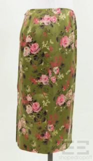 Collette Dinnigan Green Silk Pink Floral Print Pencil Skirt Size