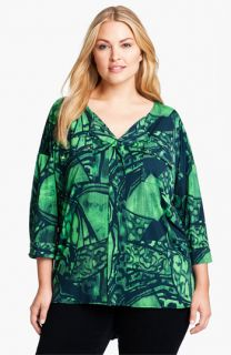 Tbags Los Angeles Print Blouse (Plus)